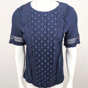 Anthro Ett Twa Navy Blue Lace Short Sleeve Tee S